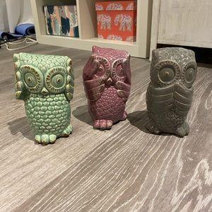 Three Decorative Owls